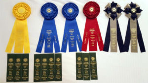 Heady's ribbons from the first ever AKC Scent Work Trials
